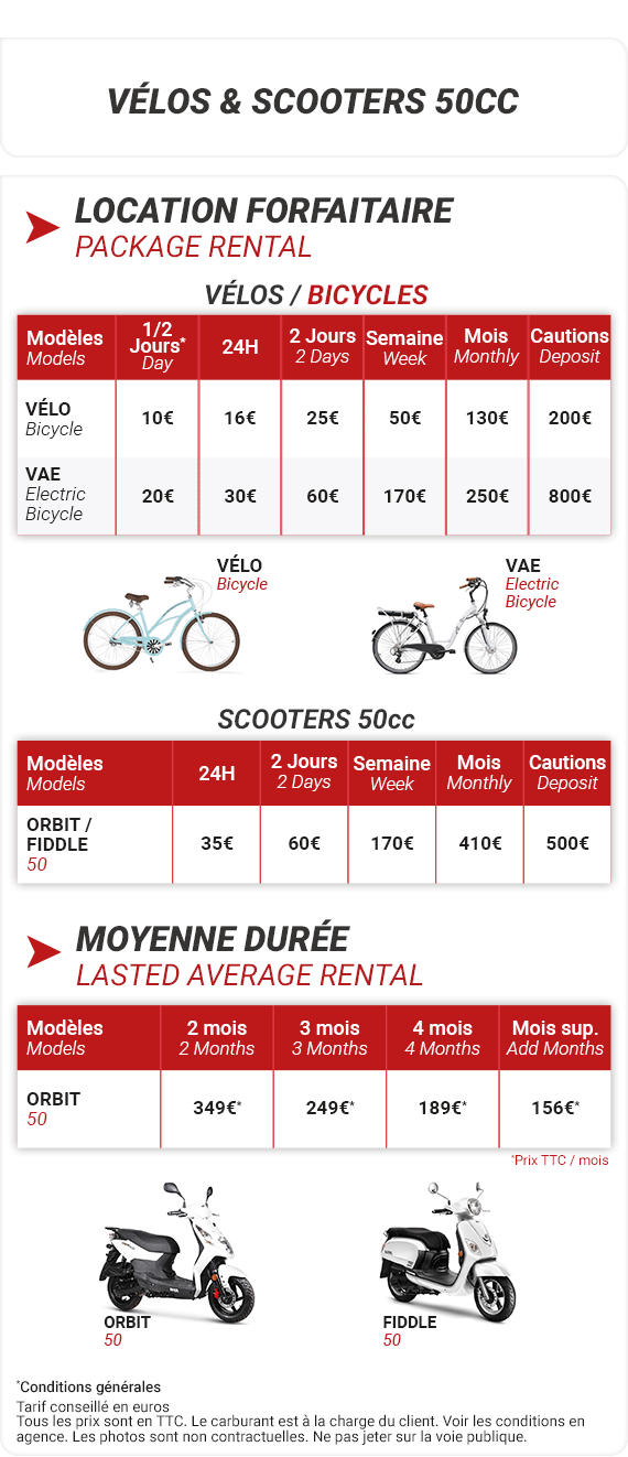 Xtreme Bike Tarifs Location vélo scooter Antibes et environs